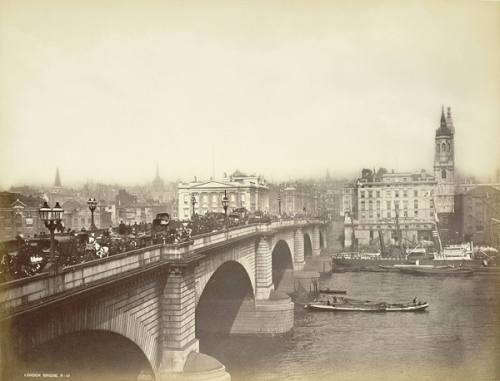 London Bridge in the 19th century.