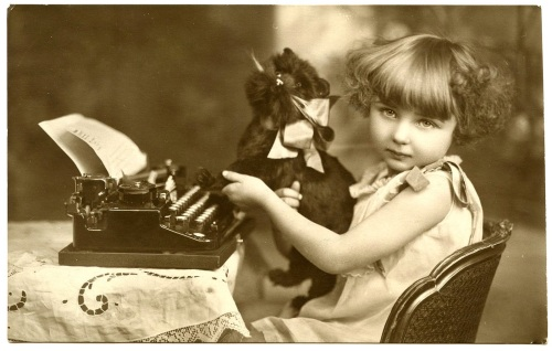 Girl with typewriter