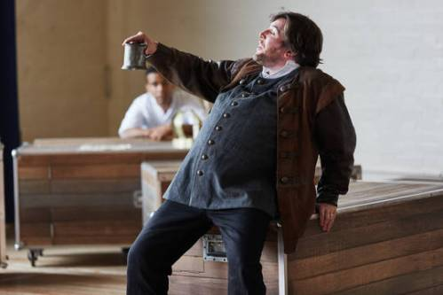 Simon Yadoo as Sir John Falstaff in The Famous Victories of Henry V. Photo by Richard Lakos.